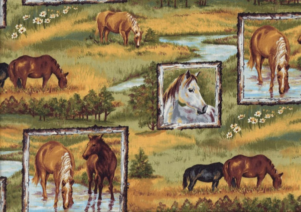 Farm Fabric, Horse Fabric, Running Wild, Wild Horses 7059 - Beautiful Quilt