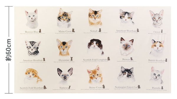 Cat Fabric, Cat Breeds, Cat Breed Faces Panel 7069 - Beautiful Quilt