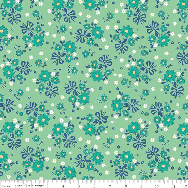 1930 Reproduction Fabric, Calico Days, Flowers Green 7092