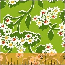 1930 Reproduction Fabric, Mimosa, Floral Green 7100