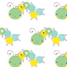 Children's Fabric, Bug Fabric, Itty Bitty, Caterpillars 7161 - Beautiful Quilt