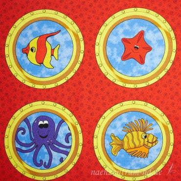 Children's Fabric, Under the Sea, Portholes Panel 7173 - Beautiful Quilt