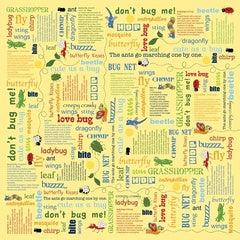 Children's Fabric, Bug Fabric, Bug a Boo, Words 7183 - Beautiful Quilt