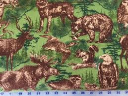 Flannel Fabric, Wildlife Fabric, Timber Lodge, Animals 7227