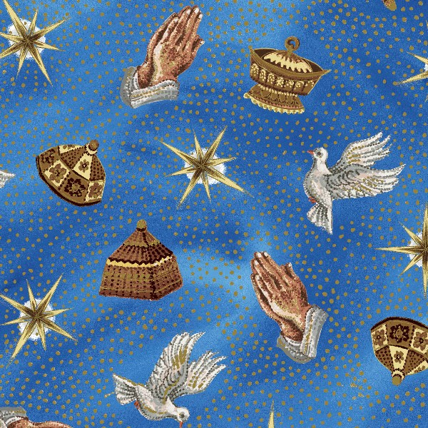 Christmas Fabric EQ Nativity Collection Praying Hands Blue 5029