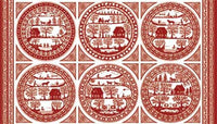 Northcott Fabric Simple Pleasures red work panal fabric 3246 - Beautiful Quilt