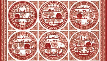 Northcott Fabric Simple Pleasures red work panal fabric 3246