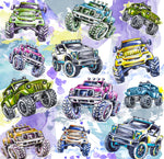 Truck Fabric, Custom Print Fabric, Whimsical 4 x 4 Trucks 7125