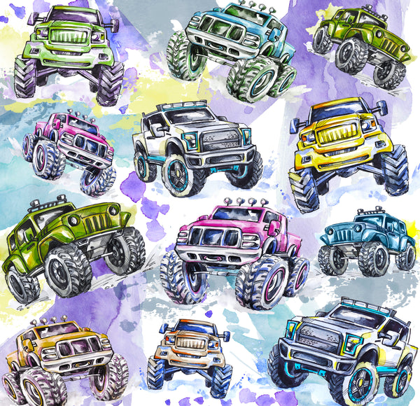 Truck Fabric, Custom Print Fabric, Whimsical 4 x 4 Trucks 7125 - Beautiful Quilt
