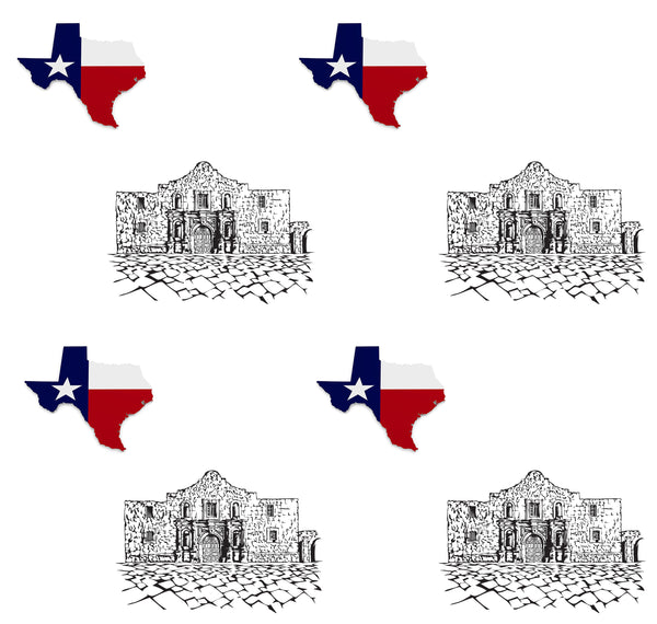 Texas Fabric, Custom Print Fabric, Texas Flag and the Alamo, Cotton or Fleece 5838 - Beautiful Quilt