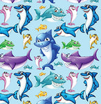 Childrens Fabric,  Whimsical Shark, Cotton or Fleece 5597 - Beautiful Quilt