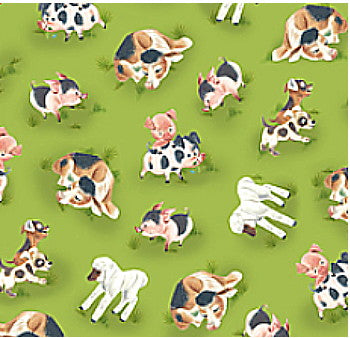 Baby animal fabric, lamb, pig and cow Farm Fabric3311 - Beautiful Quilt