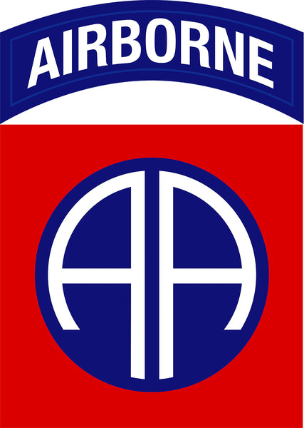 Military Fabric, 82nd Airborne Division Patch US Army Fabric Panel, Cotton or Fleece 655