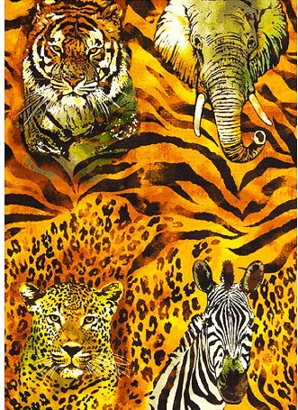 African Animal Fabric The Wild Side Panel 5687