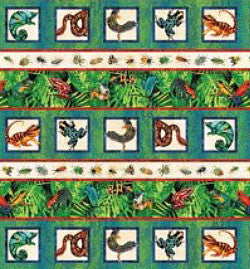 Rainforest Fabric Northcott Romp Bug and Frog Border 4514