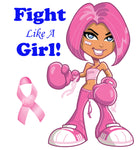 Cancer Fabric, Breast Cancer, Custom Print Panel, Fight Like A Girl on White 5629 - Beautiful Quilt