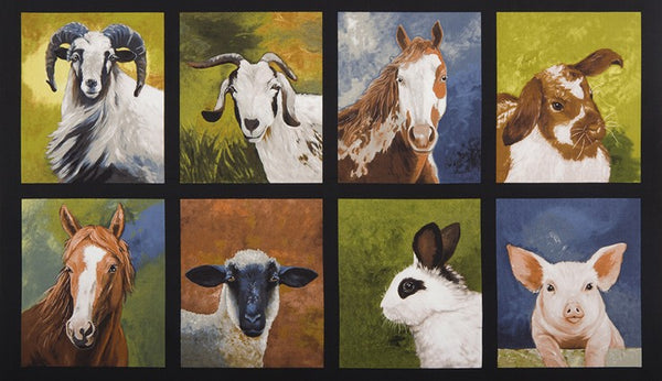 Farm Fabric Animal Fabric Goat, Sheep, Horse, Rabit, Pig Panel 5273 - Beautiful Quilt