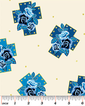 Religious Fabric Benartex Crosses with Blue Flowers 4178