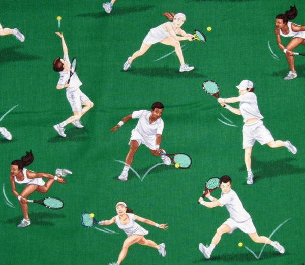 Sports Fabric, Tennis Fabri, Players on the Court 5647 - Beautiful Quilt