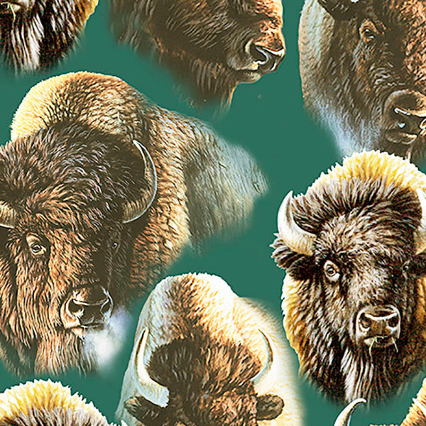 Wildlife Fabric, Buffalo Heads on Fabric 5516 - Beautiful Quilt