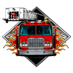 Fire Fighter Fabric, Fire Engine Fabric Panel 1705