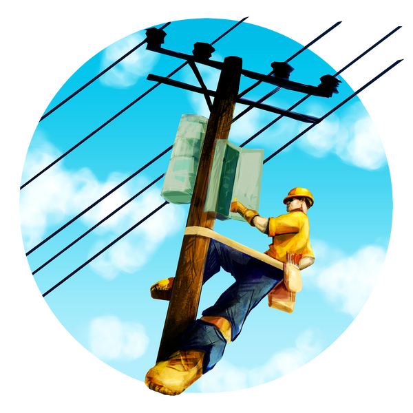 Construction Fabric, Lineman in a circle 1304