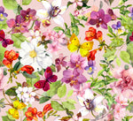 Flower Fabric, Watercolor Fabric with Butterflies in Cotton or Fleece 1583 - Beautiful Quilt