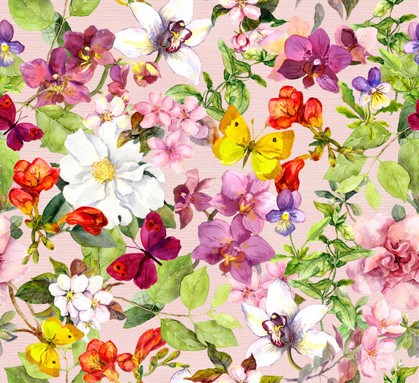 Flower Fabric, Watercolor Fabric with Butterflies in Cotton or Fleece 1583