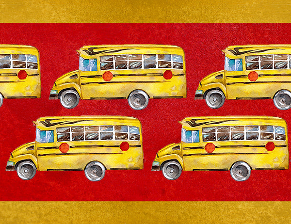 School Bus Fabric, School Bus on Border Fabric, Cotton or Fleece 3420 - Beautiful Quilt