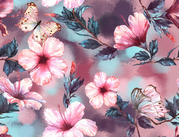Flower Fabric, Pink, Butterfly Fabric, Watercolor Fabric, Cotton or Fleece 1593
