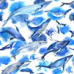 Ocean Fabric, Whale Fabric, Blue and White, Cotton or Fleece 1896 - Beautiful Quilt
