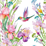 Bird Fabric, Watercolor Fabric, Humming Bird and Flowers 360 - Beautiful Quilt