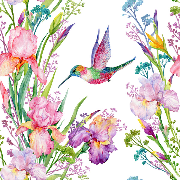 Flower Fabric, Bird Fabric, Watercolor Fabric, Humming Bird and Flowers 360