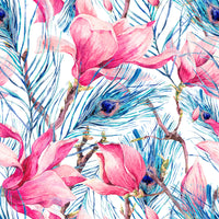 Flower Fabric, Watercolor Iris Fabric with peacock feathers, Cotton or Fleece 1565 - Beautiful Quilt