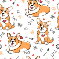 Dog Fabric, Cartoon Corgi Fabric, Cotton or Fleece 5116 - Beautiful Quilt