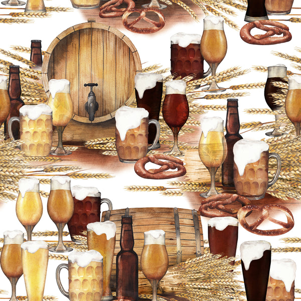 Booze Fabric, Liquor Fabric, Beer and Kegs, Cotton or Fleece 2251 - Beautiful Quilt