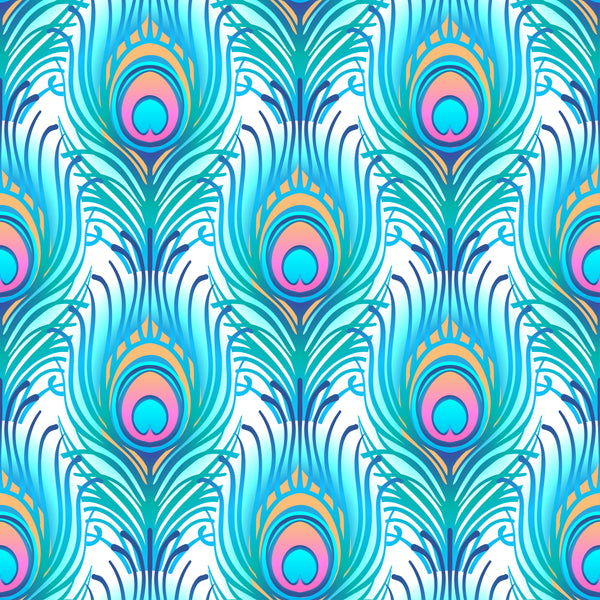 Bird Fabric, Peacock Fabric, Feathers in Turquoise, Cotton or Fleece 3845 - Beautiful Quilt
