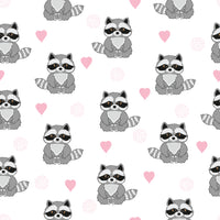 Wildlife Fabric, Raccoon Fabric with pink hearts, Cotton or Fleece, 2214 - Beautiful Quilt