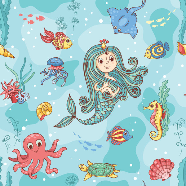 Children's Fabric, Mermaid Fabric on Turquois, Cotton or Fleece 2254 - Beautiful Quilt