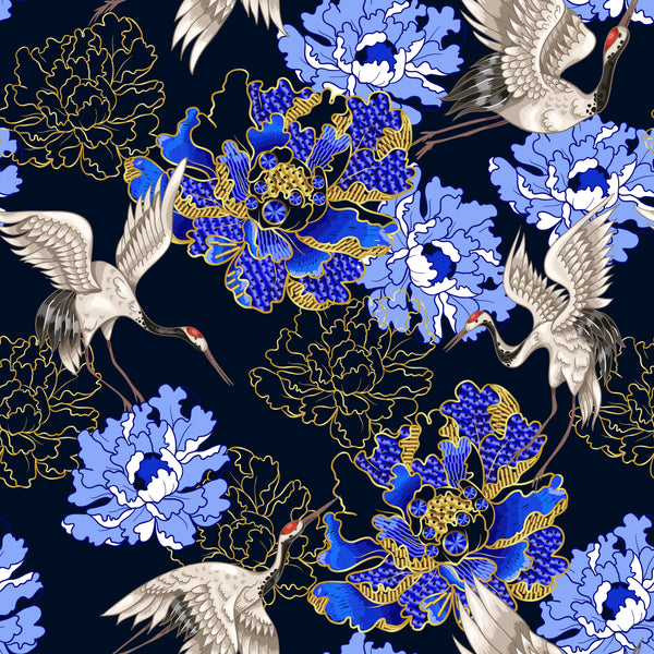 Flower Fabric, Asian Fabric, Crane Fabric 1560