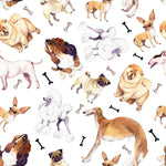 Dog Fabric, Multiple Breeds, 100% Cotton 1472