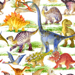 Dinosaur Fabric, Watercolor Whole Dinosaur, Cotton or Fleece 1808