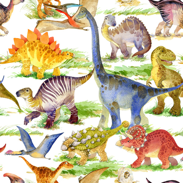 Dinosaur Fabric, Watercolor Whole Dinosaur, Cotton or Fleece 1808 - Beautiful Quilt