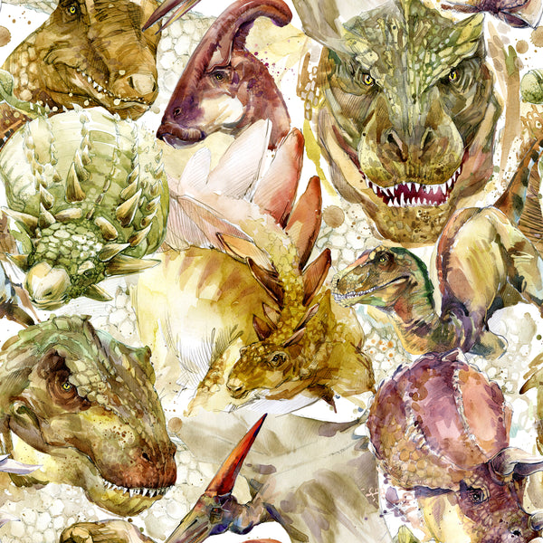 Dinosaur Fabric, Watercolor Dinosaur Heads Fabric, Cotton or Fleece 1807