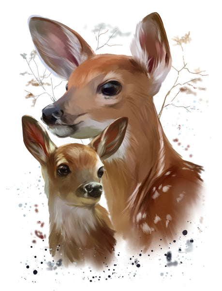 Wildlife Fabric, Watercolor Fabric, Deer Fabric, Mom and Fawn 1169