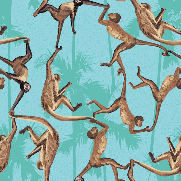 African Animal Fabric, Monkeys on Teal, Cotton or Fleece, 3414 - Beautiful Quilt