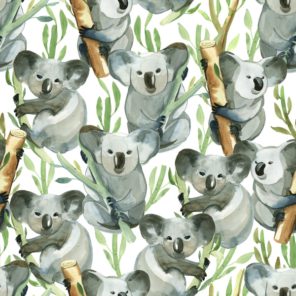 Australian Fabric, Watercolor Koala Bears, Cotton or Fleece 2208 - Beautiful Quilt