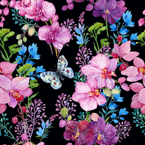 Flower Fabric with Butterflies , Watercolor, Cotton or Fleece 1591 - Beautiful Quilt