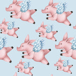 Pig Fabric, When Pigs Fly Fabric, Cotton or Fleece 1761