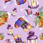 Christmas Fabric, Stockings, Bells, Lanterns on light purple, Cotton or Fleece, 3333 - Beautiful Quilt